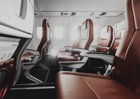 Interior de un avión Binter