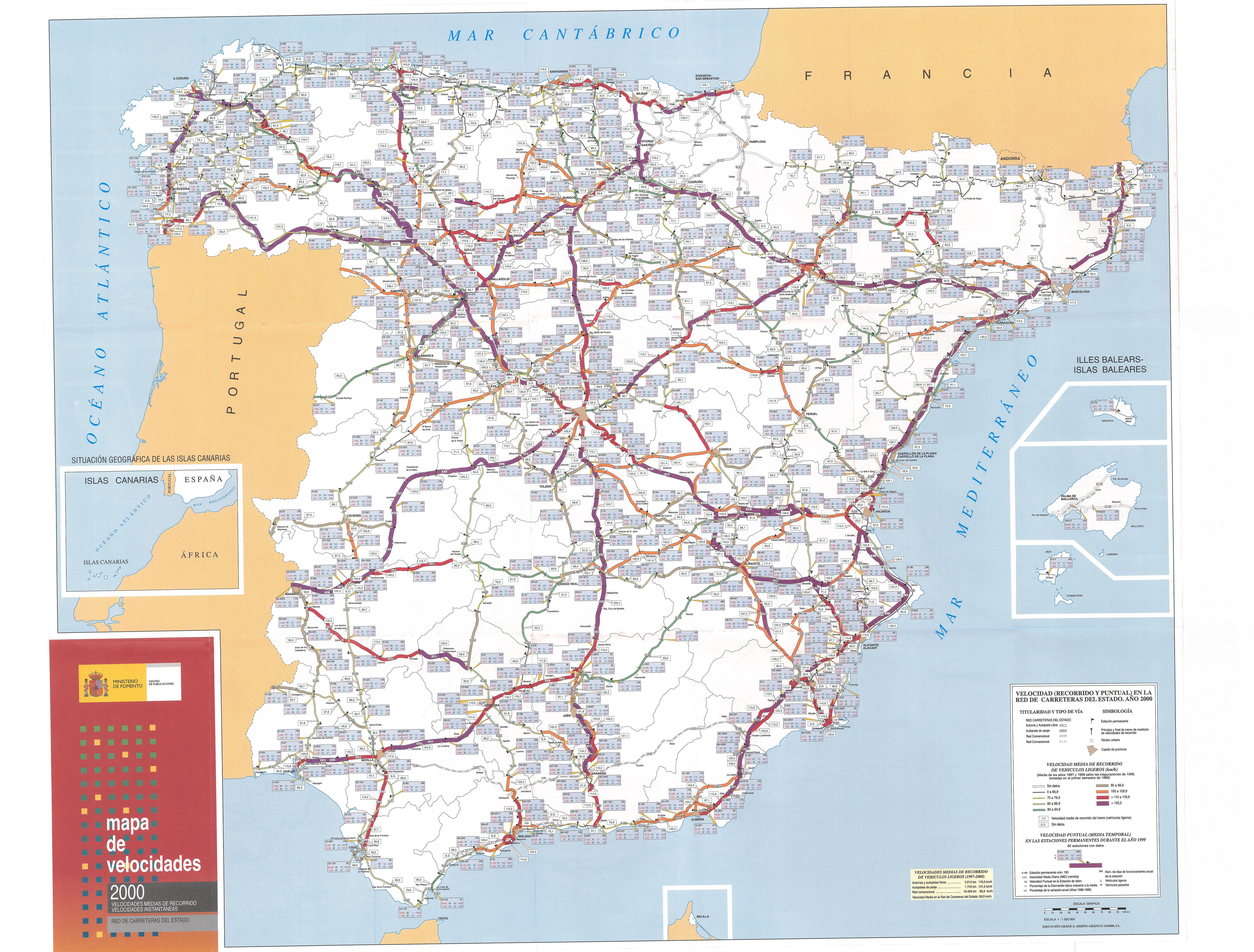Mapa De España Carreteras.2000 Ministerio De Fomento
